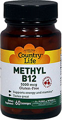 Methyl Vitamin B-12 5000 mcg Lozenges <p>From the Manufacturer's Label:<br /><br />Looking for an energy boost?  This methylated form of B12 easily digests and is quickly absorbed into your body.**  Suitable for vegetarians.<br /><br />Manufactured by Country® Life</p><p></p> 60 Lozenges 5000 mcg $12.99