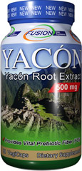 Yacon Root Extract 500 mg <strong>From Manufacturer's Label:</strong><br /><br />Yacon Root Extract 500 mg provides vital prebiotic fiber**. Contains 60 veggie caps. Dietary Supplement. <br /><br />Manufactured by Nutri- Fusion 60 Vegi Caps 500 mg $9.99