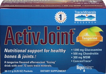 "ActiveJoint™ Glucosamine, Chondroitin, MSM & Concentrace Packets <p><strong>From the Manufacturer's Label:</strong><br /></p><p>Nutritional support for healthy bones & joints.**<br /><br />A tangerine flavored effervescent ""fizzing"" drink with over 72 ionic trace minerals.<br /></p><ul><li>1200 mg of Glucosamine HCl <br /></li><li>500 mg of Chondroitin  <br /></li"