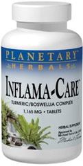 Inflama-Care™ Turmeric Boswellia Complex 1,165 mg <p><strong>From the Manufacturer's Label:</strong><br /><br />Planetary Herbals Inflama-Care™ contains highly concentrated extracts of turmeric, boswellia and ginger that support healthy inflammatory response. By naturally inhibiting pro-inflammatory compounds like COX-2 enzymes or the expression of NF-kappa-B genes, Inflama-Care is a scientifically based herbal response to the fire of Metabolic Inflammation™.&lt
