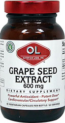 Grape Seed Extract 600 mg <p>From the Manufacturer's Label:  </p><ul><li>Powerful Antioxidant</li><li>Potent Dose</li><li>Cardiovascular/Circulatory Support</li><li>Vegetarian</li></ul><p>Manufactured by Olympian Labs</p> 60 Vegi Caps 600 mg $21.99