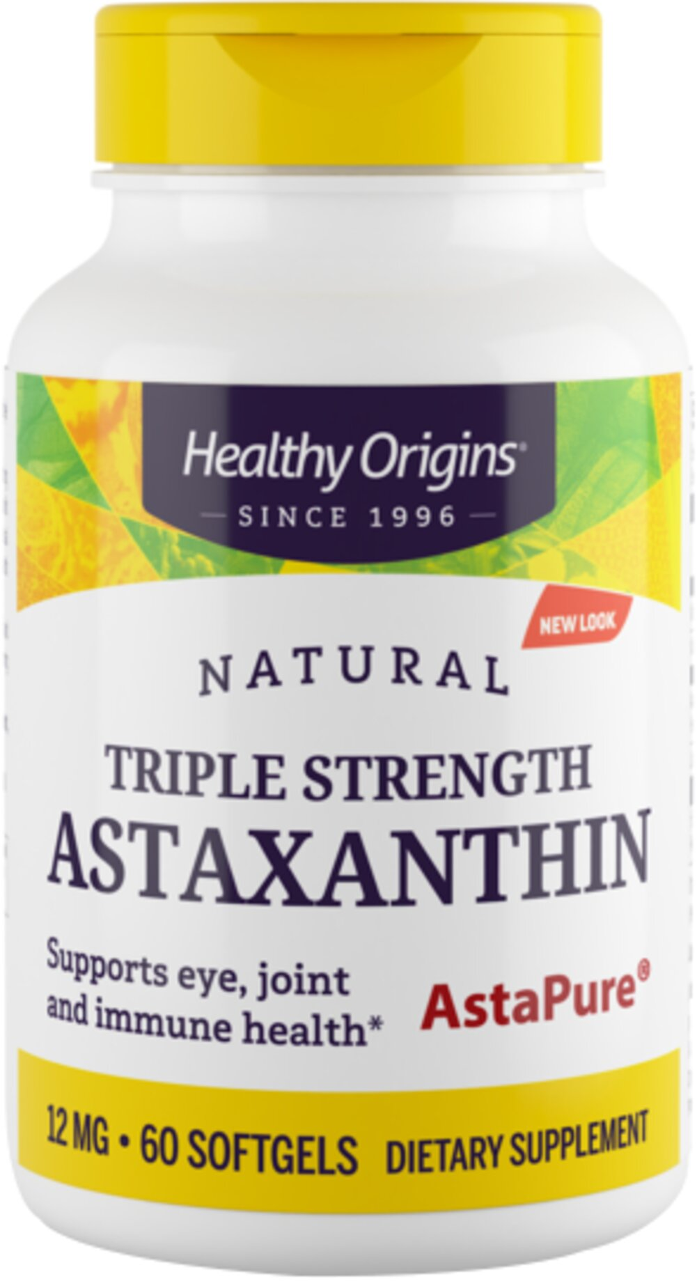 Triple Strength Astaxanthin 12 mg <p>From the Manufacturer's Label:</p><ul><li>Natural</li><li>Non-GMO<br /></li></ul><p>Healthy Origins Natural Bioastin Astaxanthin is a carotenoid produced from Haematococcus Pluvialis microalgae. One Natural Triple Strength Astaxanthin softgel capsule features a total 12 mg of Astaxanthin, three times the strength of Healthy Origins regular Astaxanthin, BioAstin Astaxanthin.</p><ul>&lt