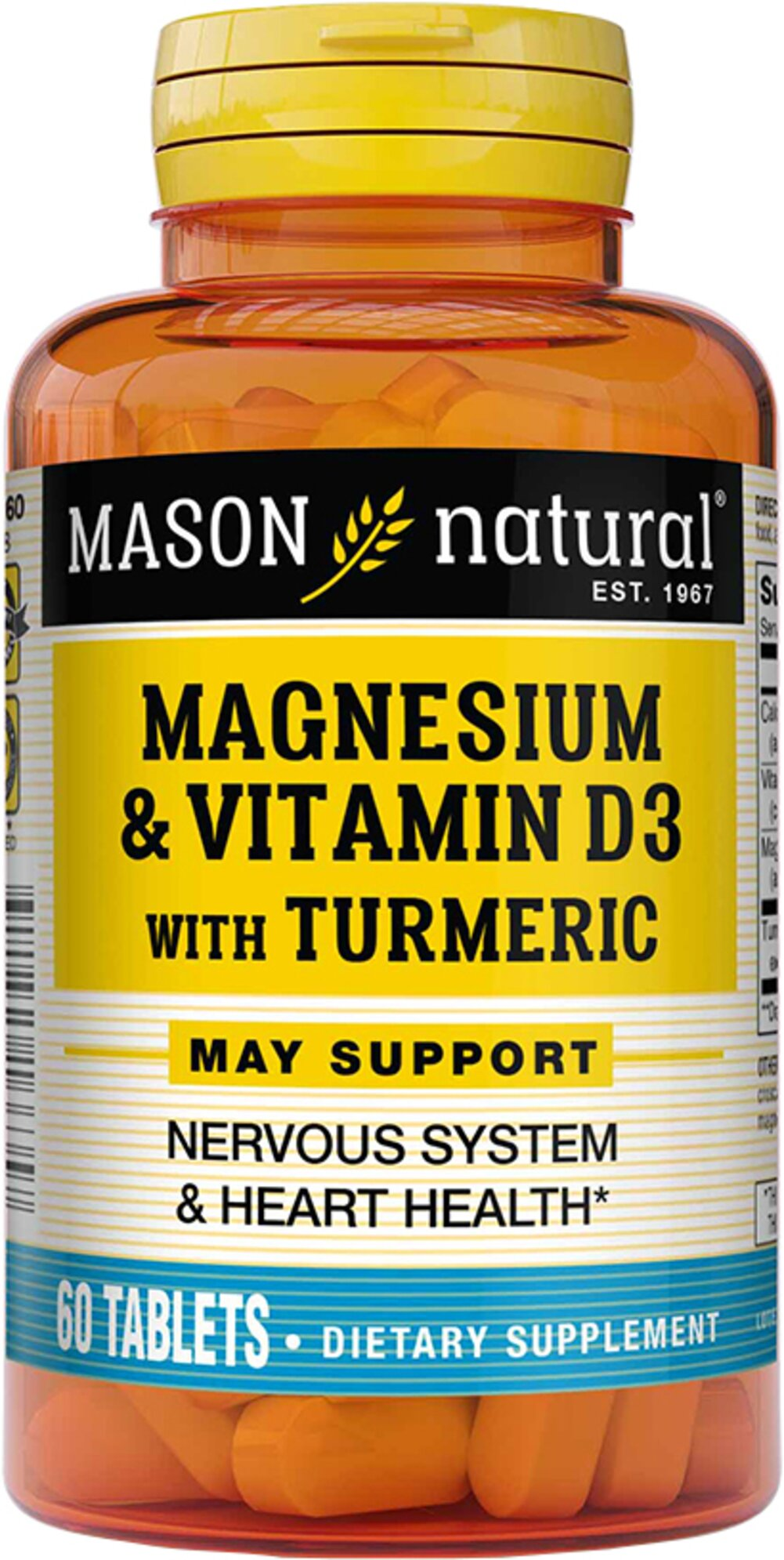 Magnesium with Vitamin D3 and Turmeric 500 mg / 3000 IU / 150 mg  60 Tablets  $11.99