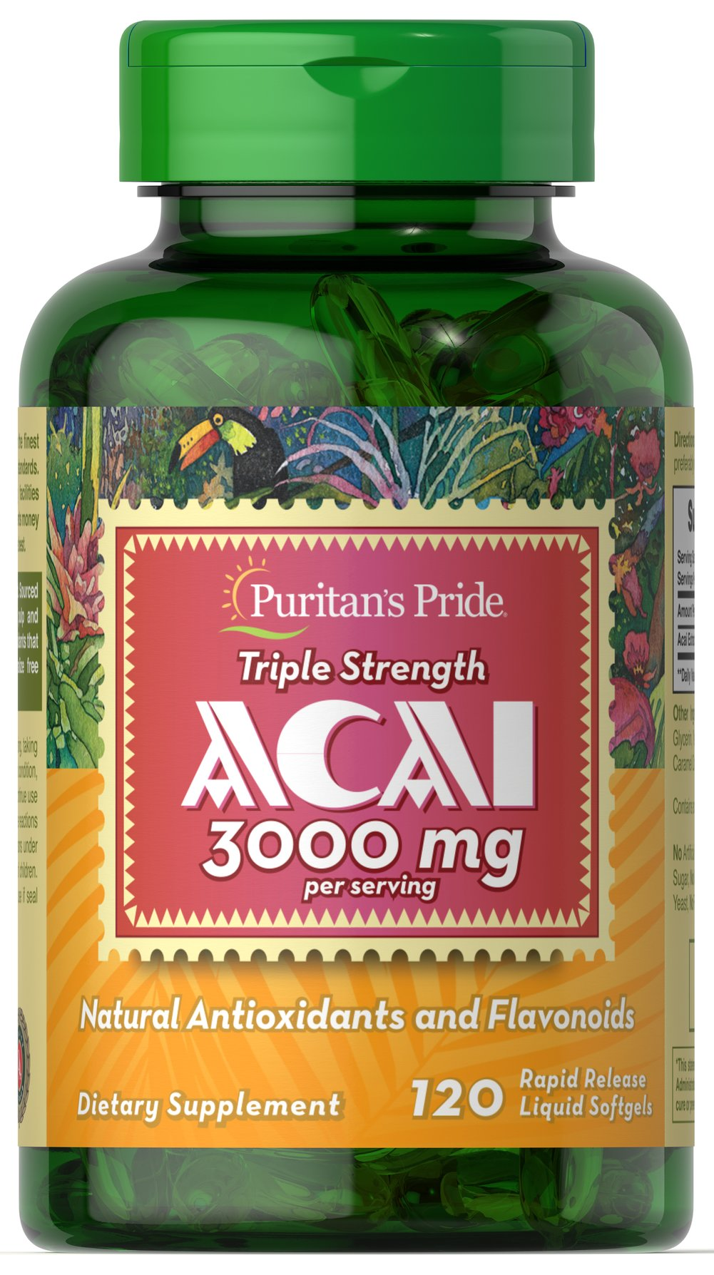 Triple Strength Acai 3000 mg <p>Unlock an exotic fountain of health and vitality with Acai!**</p><p>Contains natural flavonoids and antioxidants that help protect the body from cell damaging free radicals**</p><p>Antioxidants are an important line of defense against these rogue atoms and also help support and maintain immune system health**</p><p>3,000 mg Acai per serving (two softgels).</p> 120 Softgels 3000 mg $25.99