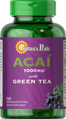 "Acai 1000 mg with Green Tea 500 mg <p><strong>A combination for personal vitality!**</strong></p><p>Puritan's Pride brings you two popular nutritional supplements in one softgel – the exotic ""superfruit"" Acai and the Orient's traditional health tonic, Green Tea.</p><p>Combines two categories of antioxidants – flavonoids from Acai and polyphenols from Green Tea</p><p>Helps support the immune system and promotes healthy cell growth**</p>"