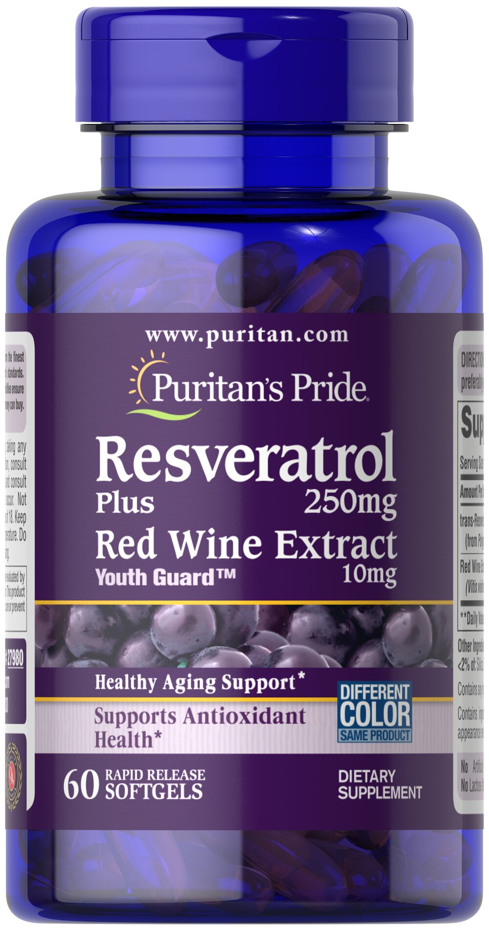 Resveratrol 250 mg <p>Resveratrol is the beneficial nutrient found in red wine</p><p>You'll get more Resveratrol in one of our capsules than you would from an entire bottle of red wine!</p><p>Maximum strength capsules are formulated for rapid  release into your system</p><p>Provides powerful antioxidant support**</p><p>Helps fight against cell-damaging free radicals**</p> 60 Softgels 250 mg $48.39