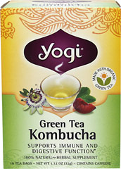 Green Kombucha Tea <p><strong>From the Manufacturer's Label:</strong></p><p>This Green Tea Kombucha has been updated for today's lifestyle. Yogi's special formula combines Kombucha with Organic Green Tea.  Spearmint is in this formula, and Plum and Lemongrass combine to create a fragrant tea with a light, fruity flavor. Enjoy a delicious, delightful and soothing cup of tea.</p> 16 Tea Bags  $7.49