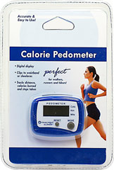 Pedometer <p>A great tool for walkers, runners and hikers</p> <p>Tracks distance, calories burned and steps taken</p> <p>Digital display is easy to read</p> <p>Fastens easily to your waistband, belt, or shoelaces!</p>  <p>Track the fruits of your labor with our easy-to-use Calorie Pedometer! This compact tool is a great way for walkers, runners and hikers alike to monitor their progress — you can measure how far you've walked, the amount of s