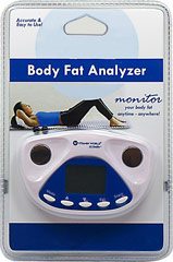 Body Fat Analyzer <p>A pocket-sized monitor that's as accurate as it is convenient</p><p>Measure your body fat percentage whenever, wherever!</p><p>Easy-to-use device will always give you a precise reading</p><p>Stay focused on your body fat percentage with our accurate, easy-to-use Body Fat Analyzer. This portable tool allows you to check your body fat percentage anytime, anywhere – it's small enough to carry in your purse or pocket!</p> 1 Each  $