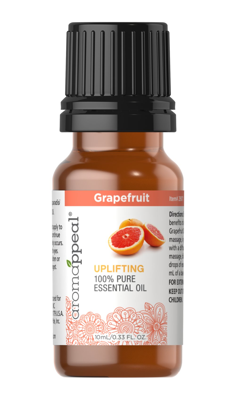 "Grapefruit 100% Pure Essential Oil <p>Illuminate your senses and explore pure aromatic pleasure with the citrusy zing of Grapefruit Oil. This refreshing oil is stimulating and uplifting, and has been traditionally used to rejuvenate your entire body, especially in the areas of respiratory health.</p><ul><li><span class=""bold-pink"">Traditional Uses: </span>Respiratory cleansing and purifying, uplifting, refreshing, stimulating, rejuvenating especially"