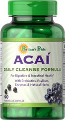 "Acai Daily Cleanse <p>Give your digestive tract a fresh and clean feeling with this combination of the Brazilian ""superfruit"" Acai, probiotics, fiber and special enzymes.</p><p>Acai is an antioxidant known for enriching the vitality of the body and soul**</p><p>Probiotics are the good bacteria that help support nutrient absorption**<p></p>Psyllium Husk Fiber – a healthy addition to your diet**</p> 90 Capsules  $29.99"