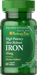 "High Potency Slow Release Iron 45 mg <ul><li><span style=""font-family:'Arial','sans-serif';color:black;"">Promotes energy utilization.**</span></li><li><span style=""font-family:'Arial','sans-serif';color:black;"">Easy one-a-day dose.</span></li><li><span style=""font-family:'Arial','sans-serif';color:black;"">Vegetarian dietary supplement.</span></l"