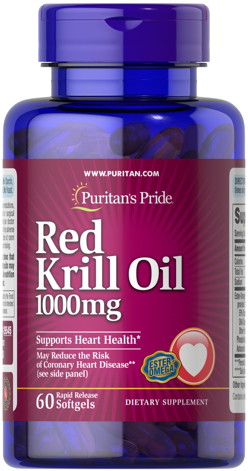 "Red Krill Oil 1000 mg (170 mg Active Omega-3) <p><strong>With Naturally Occurring Astaxanthin</strong></p><p>Harvested from the icy waters of Antarctica.</p><p>May reduce the risk of coronary heart disease◊</p><p>Supports a healthy heart**</p><p>Provides you with Omega-3 fatty acids — the ""good"" fats important for cellular and metabolic health**</p><p>Rapid release softgels facilitate quick absorption</p> 60 Soft"