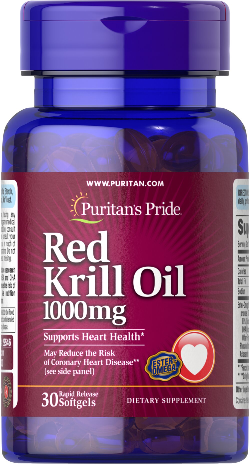 "Red Krill Oil 1000 mg <p><strong>With Naturally Occurring Astaxanthin</strong></p><p>Harvested from the icy waters of Antarctica.</p><p>May reduce the risk of coronary heart disease◊</p><p>Supports a healthy heart**</p><p>Provides you with Omega-3 fatty acids — the ""good"" fats important for cellular and metabolic health**</p><p>Rapid release softgels facilitate quick absorption</p> 30 Softgels 1000 mg $25.99"