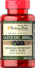 Extra Virgin Olive Oil 1000 mg <p>Research indicates that a diet rich in fiber, fruits, vegetables and fish that includes Olive Oil can have a positive effect on heart health**</p><p>Our Extra Virgin Olive Oil is cold pressed to preserve its natural constituents</p><p>Rapid release softgels absorb quickly into your system for optimal benefits**</p> 60 Softgels 1000 mg $11.99