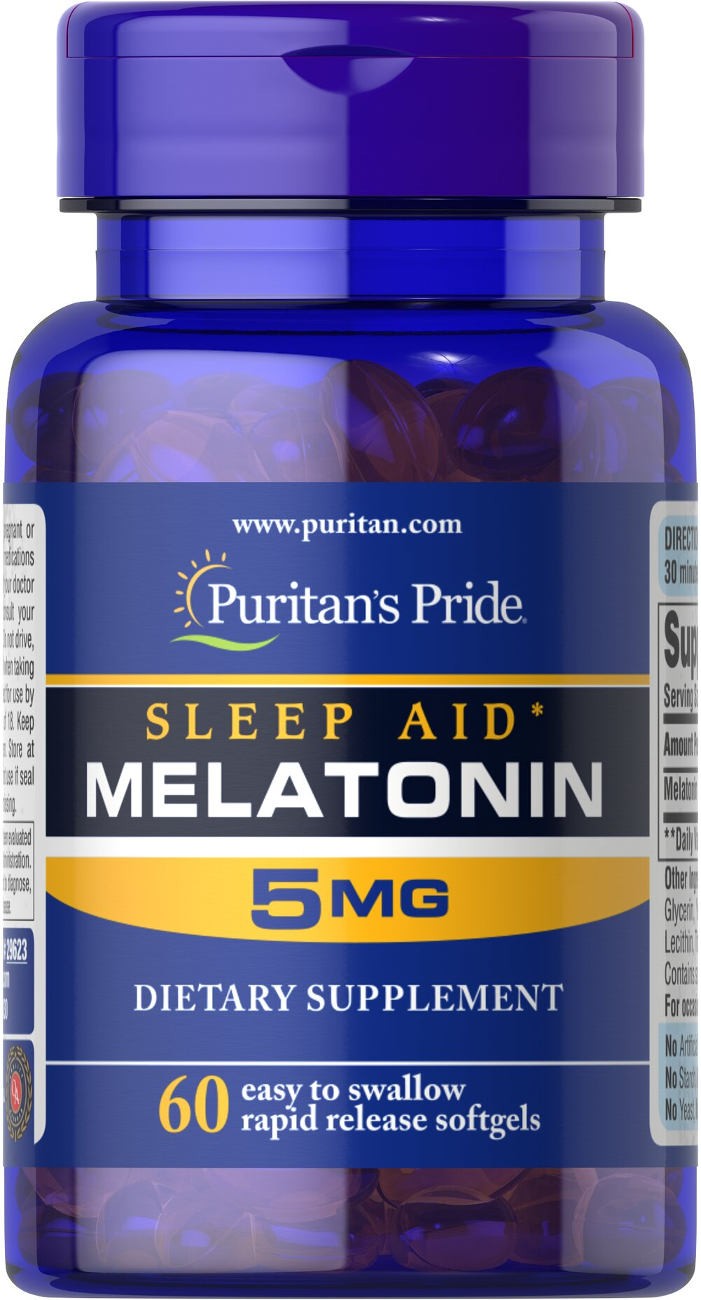 Extra Strength Melatonin 5 mg <ul><li>Extra Strength Melatonin is excellent for those experiencing jet lag or occasional sleeplessness.**</li><li>Melatonin helps maintain nighttime blood pressure levels already within a normal range, which may contribute to restful sleep.** </li><li>Convenient Rapid Release Softgel</li><li>Melatonin helps you fall asleep quickly and stay asleep longer**</li></ul> 60 Softgels 5 mg $7.99
