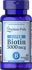 Biotin 5000 mcg <p>Supports Skin & Hair Health**</p><p>Found in foods such as oatmeal and soy, Biotin, a water-soluble B vitamin, assists in energy metabolism in cells.** Biotin helps to support healthy skin and hair.**</p> 60 Softgels 5000 mcg $7.99