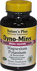 Dyno-Mins Magnesium Potassium with Bromelain <p><strong>From the Manufacturer's Label: </strong></p><p><strong>Nature's Plus Dyno-Mins® Magnesium, Potassium & Bromelain is an exciting, revolutionary formulation offering peak, mineral support.</strong><br /><br />• Dyno-Mins Magnesium, Potassium & Bromelain supplies highest quality Phytavail Magnesium from pesticide-free, hydroponically grown plants. Unlike other f