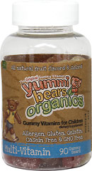 Yummi Bears® Organic Multivitamins <p><strong>From the Manufacturer's Label:</strong></p><p>Our unique formulas are allergen free, gluten free, casein free, gelatin free, and made with all natural flavors and colors.  Yummi Bears® Organics multivitamins and Mineral has 16 essential vitamins and minerals for healthy growth and development. ** </p><p>Manufactured by Hero Nutritionals.</p> 90 Gummies  $13.99