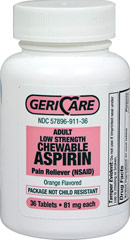 Low Dose Aspirin Chewable 81 mg <p><strong>From the Manufacturer's Label: </strong></p><p>Chewable</p><p>Low Dose Aspirin</p>Great Tasting Orange Flavored Aspirin 36 Tablets 81 mg $6.29