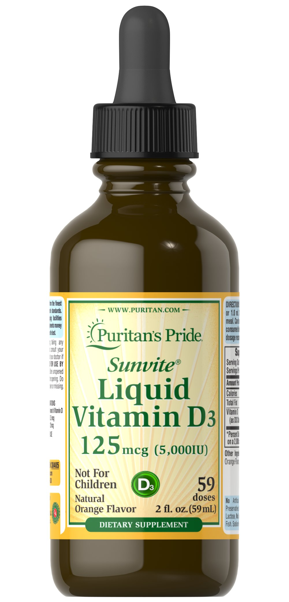 Liquid Vitamin D3 5000 IU <p><strong>Maximum Strength</strong></p><p>Fast acting and great tasting, our natural orange flavored Vitamin D (D3) is easy to use and perfect for those who dislike swallowing tablets or capsules. Vitamin D helps support strong bones and teeth by increasing Calcium absorption and also assists in immune system health.**</p><p>Helps maintain healthy bones in adults.**</p><p>Assists in maintaining a healthy immune syst