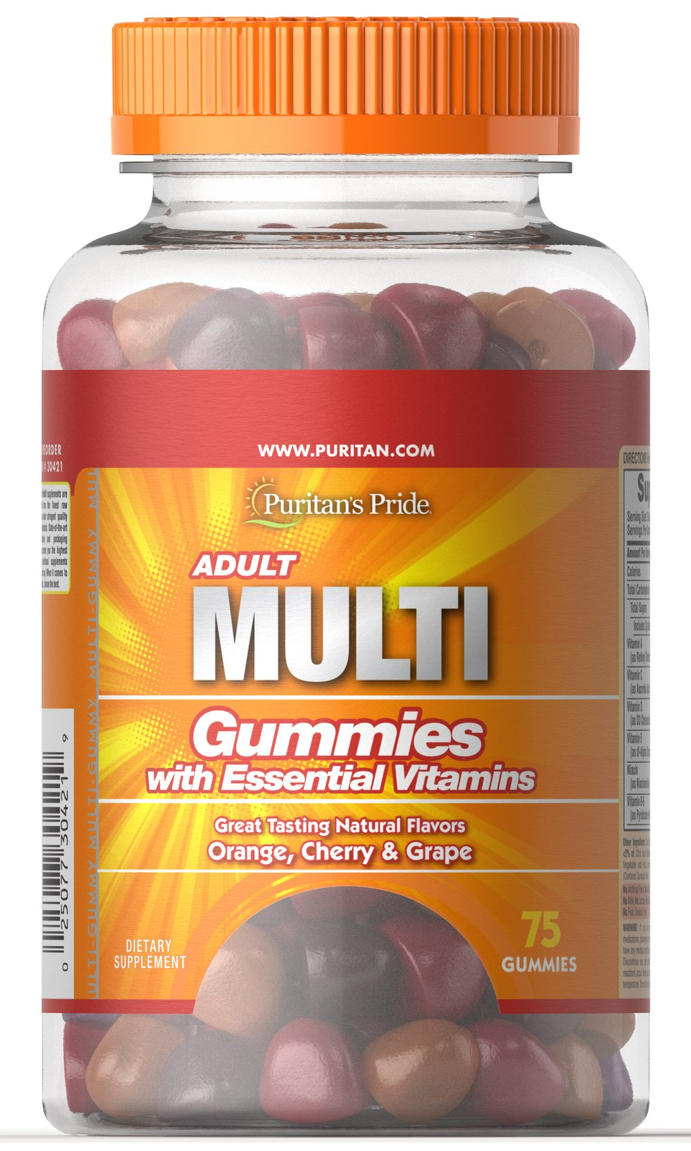 Adult Multivitamin Gummy with Fiber <p>An adult multivitamin that's delicious and fun to take</p><p>Vitamin and mineral support for your heart, eyes, bones and joints**</p><p>Great-tasting natural flavors include orange, cherry and grape</p><p>No artificial flavors or sweeteners</p> 75 Gummies  $18.99