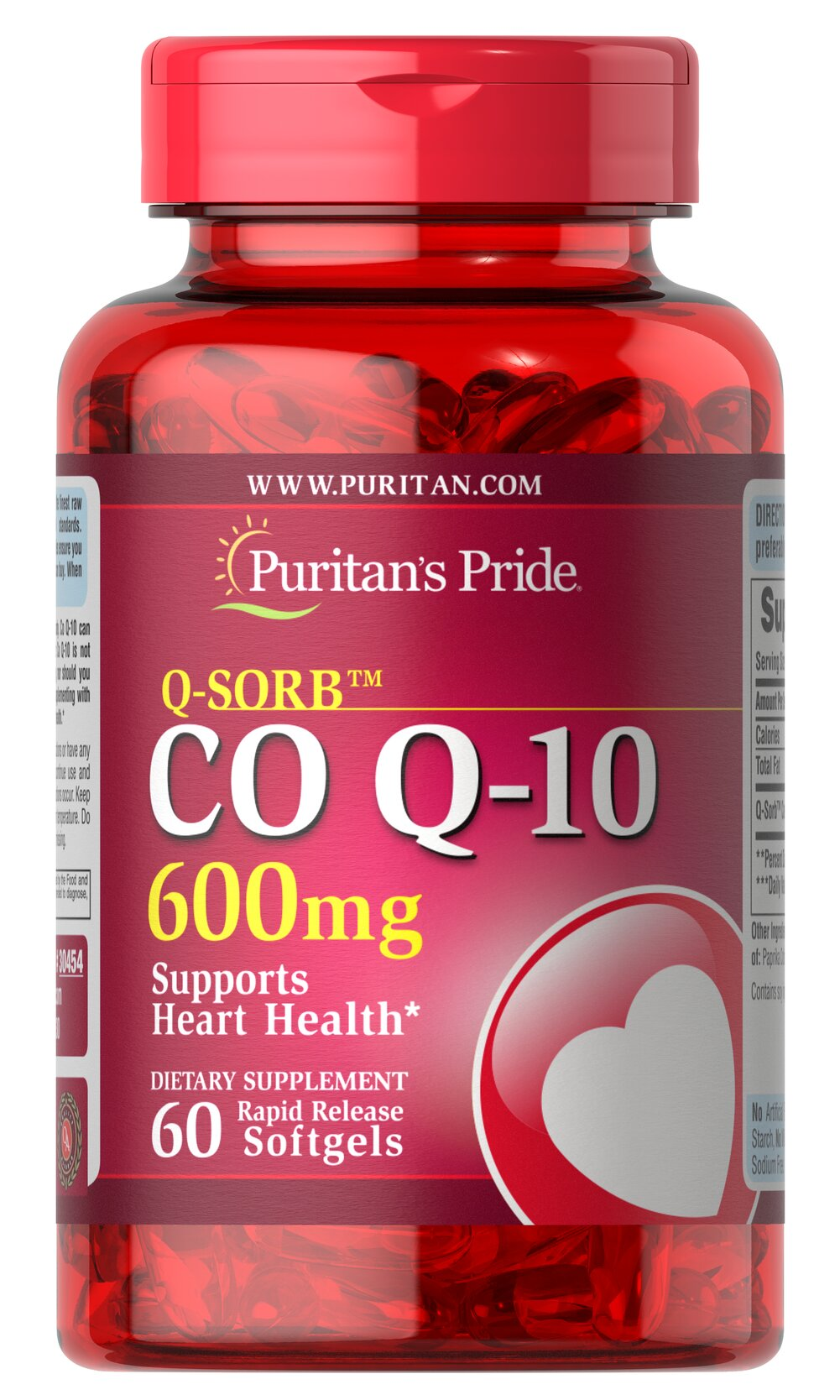 Q-SORB™ COQ-10 600 mg <p>Puritan's Pride Q-Sorb™ Co Q-10 (coq10) provides antioxidant support for your heart and ensures potency and purity.**</p> <p>Our Q-Sorb™ Co Q-10 is hermetically sealed in rapid release softgels to provide superior absorption</p> <p>Contributes to your heart and cardiovascular wellness**</p> <p>Helps support blood pressure levels already within a normal range**</p> <p>Promotes energy production within your heart, brain