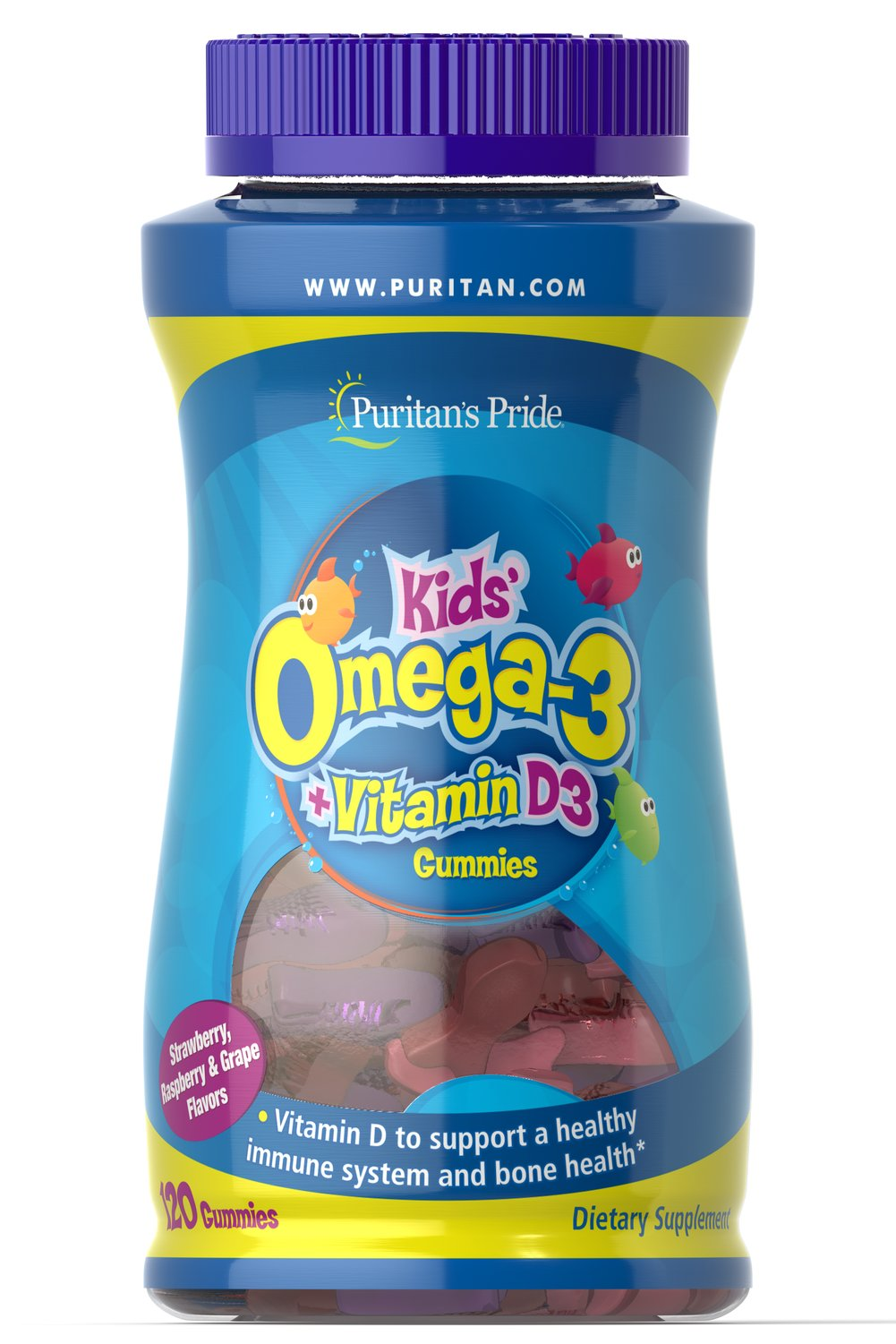 Children's Omega 3, DHA & D3 Gummies <p>Yummy gummies contribute to your child's healthy growth and development**</p> <p>Each gummy provides your child with essential Omega-3 fatty acids</p> <p>No artificial colors, flavors or sweeteners</p>  <p>Preservative and gluten-free</p> <p>Delicious gummies come in strawberry banana, orange peach and green apple flavors</p> 120 Gummies  $29.99