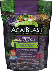 Acai Blast™ Acai Soft Chews Antioxidant Formula <p><strong>From the manufacturer:</strong></p><ul><li>300 mg of Super Concentrated Açai Fruit Per Soft Chew</li><li>Rich in Anthocyanins & Polyphenols</li><li>Sustainably Harvested from the Amazon Rainforest</li><li>Two of Nature's Most Potent Antioxidants**</li><li>A Member of the Superfruit Family</li></ul><p>Garden Greens™ Aça