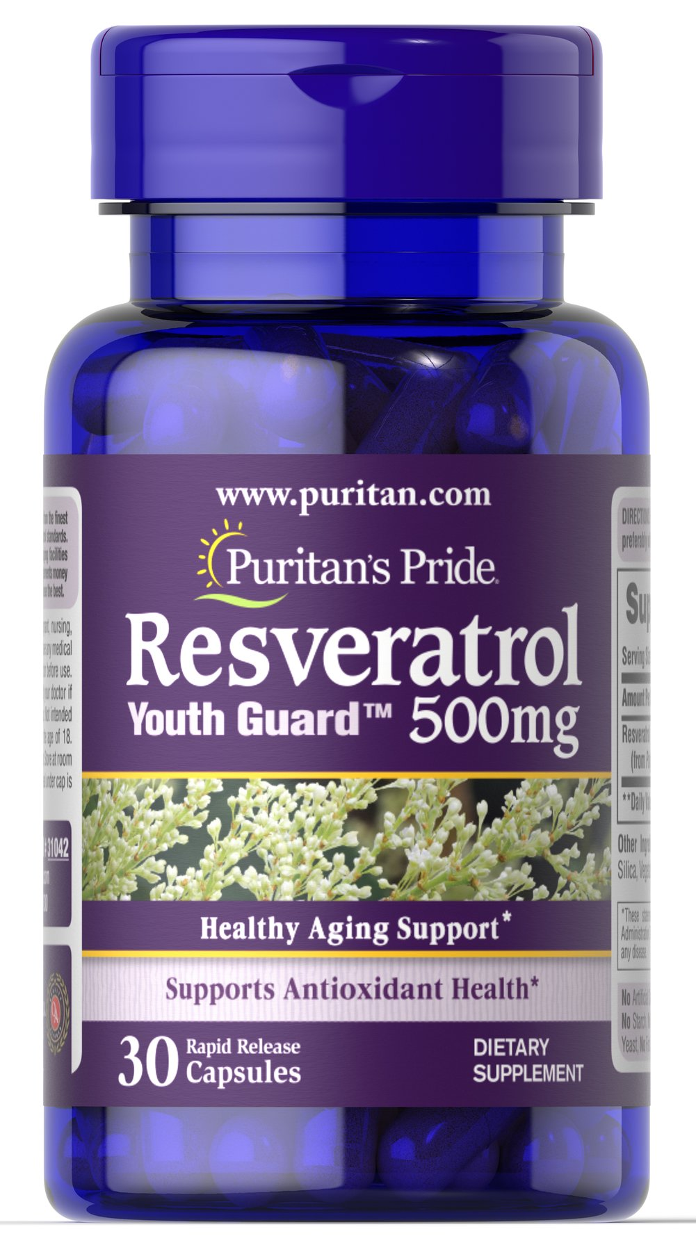 Resveratrol 500 mg <p>Resveratrol is the beneficial substance found in red wine</p> <p>Each two-capsule serving has more Resveratrol than a typical bottle of red wine</p> <p>Nutritionally supports antioxidant health**</p> <p>Helps fight against cell-damaging free radicals**</p> <p>Maximum strength capsules are formulated for quick release into your system</p> <p>Vegetarian friendly</p> 30 Capsules 500 mg $45.29