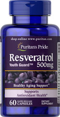 Resveratrol 500 mg <p>Resveratrol is the beneficial substance found in red wine</p> <p>Each two-capsule serving has more Resveratrol than a typical bottle of red wine</p> <p>Nutritionally supports antioxidant health**</p> <p>Helps fight against cell-damaging free radicals**</p> <p>Maximum strength capsules are formulated for quick release into your system</p> <p>Vegetarian friendly</p> 60 Capsules 500 mg