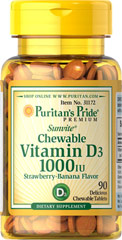 Chewable Vitamin D3 1000 IU <p><strong>Delicious Strawberry Banana Flavor </strong></p><p>All Puritan's Pride Vitamin D formulas are Vitamin D3, a more potent and bioavailable form compared to D2.. Together with Calcium, Vitamin D helps develop strong bones and also assists in immune system health.**</p><p>A review study on the benefits of Vitamin D recommends increased use of supplements in the U.S. to help ensure optimal health, and that supplementing