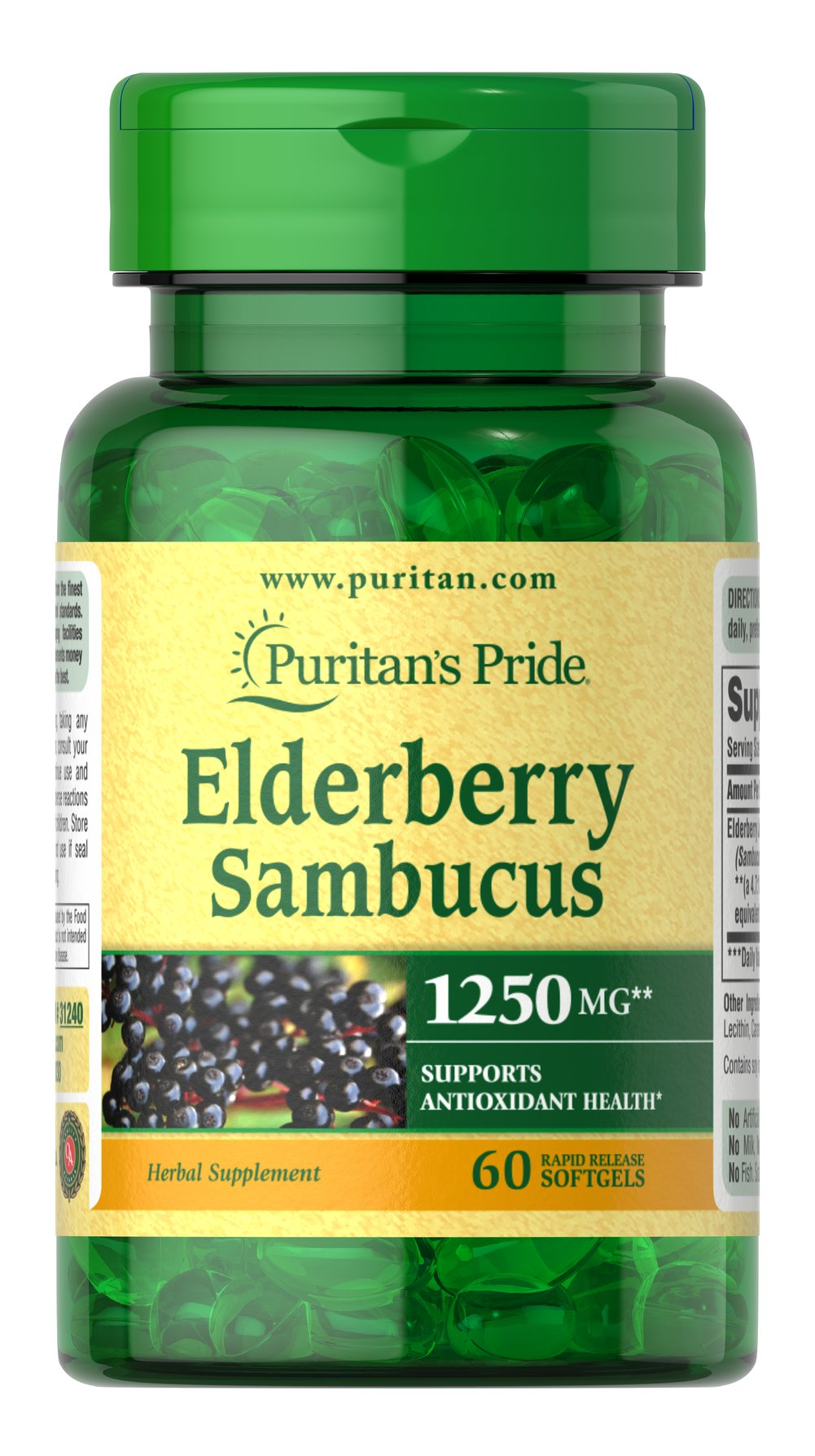 Elderberry Sambucus 1250 mg <p>SUPPORTS ANTIOXIDANT HEALTH**</p><p></p><p>Elderberry is a traditional herb for immune support**</p><p>Naturally contains beneficial flavonoids, including plant-based phytochemicals with antioxidant properties**</p><p>Elderberries have a long history of use as a food</p><p>This concentrated extract is provided in easy-to-swallow softgels</p><p>Rapid release softgels provide quick release&