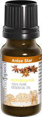Anise Star 100% Pure Essential Oil <p>For an aromatherapy encounter that's both cleansing and pure, experience the captivating draw of Anise Star. Its distinct, sweetly licorice scent is dynamic – with Anise Star Oil, a little dab will do. </p>It can be massaged into the chest for respiratory health, and has enjoyed a long history of traditional use in the areas of digestive and women's health. 10 ml Oil  $11.99
