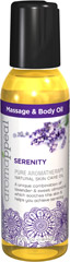 Serenity Massage & Body Oil <p><b>SERENITY</p></b> <b><p>Pure Aromatherapy Natural Skin Care Oil</b></p> <p>A unique combination of lavender & sweet almond oil, which  soothes the skin & helps you achieve serenity. </p> <p>Created to bring you harmony, Aromappeal™ uses the most balanced  ingredients to lift your spirits and soothe your mind.</p> <p>For massage, in a bath, or apply generously after shower. &