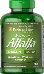 "Natural Alfalfa 650 mg <p>Alfalfa is known as a ""green"" food that contributes to nutritional wellness</p><p>Supports women's health, especially around the time of menopause<p>Vegetarian friendly tablets</p>  600 Tablets 650 mg $25.99"