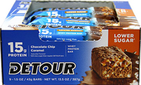 "Lower Sugar Bars Chocolate Chip Caramel 15 gram <p><strong>From the Manufacturer's Label: </strong></p><p><strong></strong></p><ul><li>15 g Protein</li><li><span style=""font-size:11.0pt;font-family:'Calibri','sans-serif';"">0g</span> T<span style=""font-size:11.0pt;font-family:'Calibri','sans-serif';"">rans Fat</span></li><li>50% less su"