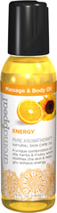 Energy Massage & Body Oil <p><b>ENERGY</p></b><b><p>Pure Aromatherapy Natural Skin Care Oil</b></p><p>A unique combination of WONDER oils, herbs & fruits, which soothes the skin & helps you achieve energy.**</p> Like Wonder Oil, energy massage and body oil leaves a rich elegant feel and does a superb job of lubricating and moisturizing.</p> <p>Created to bring you harmony, Aromappeal™ uses the most balanced ingre