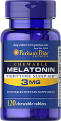 Chewable Melatonin Nighttime Sleep Aid 3 mg <p>Easy-to-take, chewable and helpful. Melatonin is important for the natural sleep cycle and supports restful sleep patterns.**</p> <p>Melatonin is excellent for those experiencing jet lag or occasional sleeplessness.** </p> <p>Melatonin helps maintain nighttime blood pressure levels already within a normal range, which may contribute to restful sleep.</p>  120 Chewables 3 mg $7.99