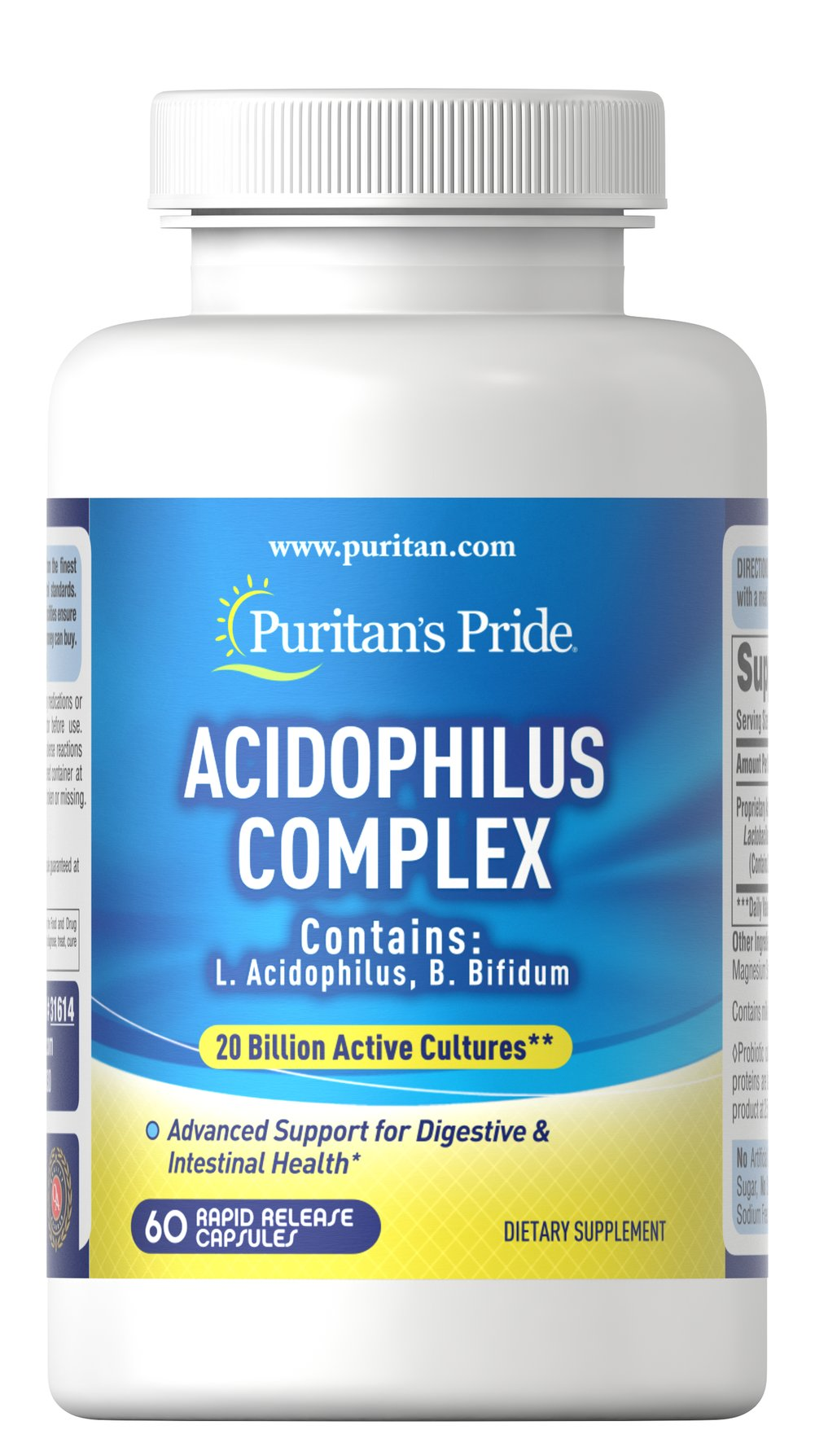 Acidophilus Complex 20 Billion <p>Acidophilus supports a favorable environment for the absorption of nutrients, encourages intestinal microflora balance, and promotes the healthy functioning of the intestinal system.**</p><p>20 billion active cultures per serving guaranteed at time of manufacture. </p> 60 Capsules 20 billion $39.99