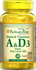 Natural Vitamins A & D3  <p> Vitamin A & D are essential nutrients. Vitamin A helps regulate the immune system and assists in many other functions such as eyesight. ** Vitamin D helps maintain healthy bones in adults and is essential to Calcium absorption. **</p><p> Helps maintain the health of eyes. **</p><p>Supports the immune system.** </p>  <p>Helps maintain the skin and health of hair. ** </p><p>Plays a role in maintaining bone h