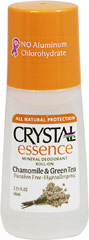 Crystal® Chamomile & Green Tea Mineral Deodorant Roll-On <p><strong>From the Manufacturer's Label:</strong></p><p>Paraben Free</p><p>Hypoallergenic</p><p><strong>Natural Deodorant Protection</strong></p><p>Crystal essence™ Chamomile & Green Tea, made of natural mineral salts and infused with the calming aromas of chamomile and green tea, creates an invisible protective barrier against odor-causing
