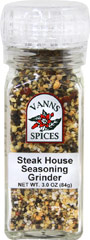 Steak House Seasoning Grinder <b><p> From the Manufacturer:</b></p>Our Steak House Seasoning is as delicious as it is easy and convenient. Equipped with a convenient grinder built into the bottle, it is comprised of salt, garlic, pepper, chilies and other spices – a balanced blend of spicy and sweet accents that make it the perfect all-in-one seasoning for steaks and burgers. Our Steak House Seasoning contains no preservatives and is non-irradiated. Sprinkle our robust St