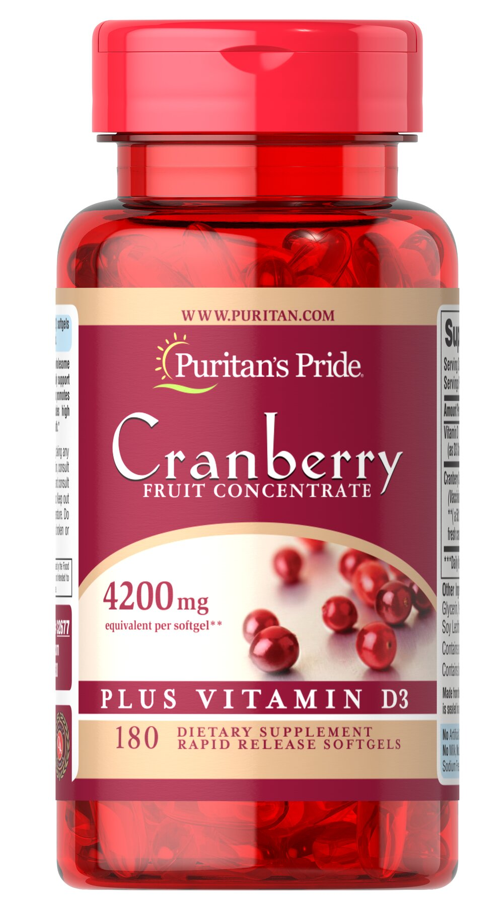 Cranberry Fruit Concentrate Plus Vitamin D3 <p>Our Cranberry Fruit Concentrate Plus Vitamin D3 has the wholesome goodness of cranberries to nutritionally support urinary tract health as well as promote bladder health.** Each serving contains a 50:1 concentrate, the equivalent of 8,400 mg of fresh cranberries. Also includes 1000 IUs of high potency Vitamin D3 per serving to support bone and breast health.** Includes 180 rapid release softgels.</p> <p>• Has the wholesome goodness