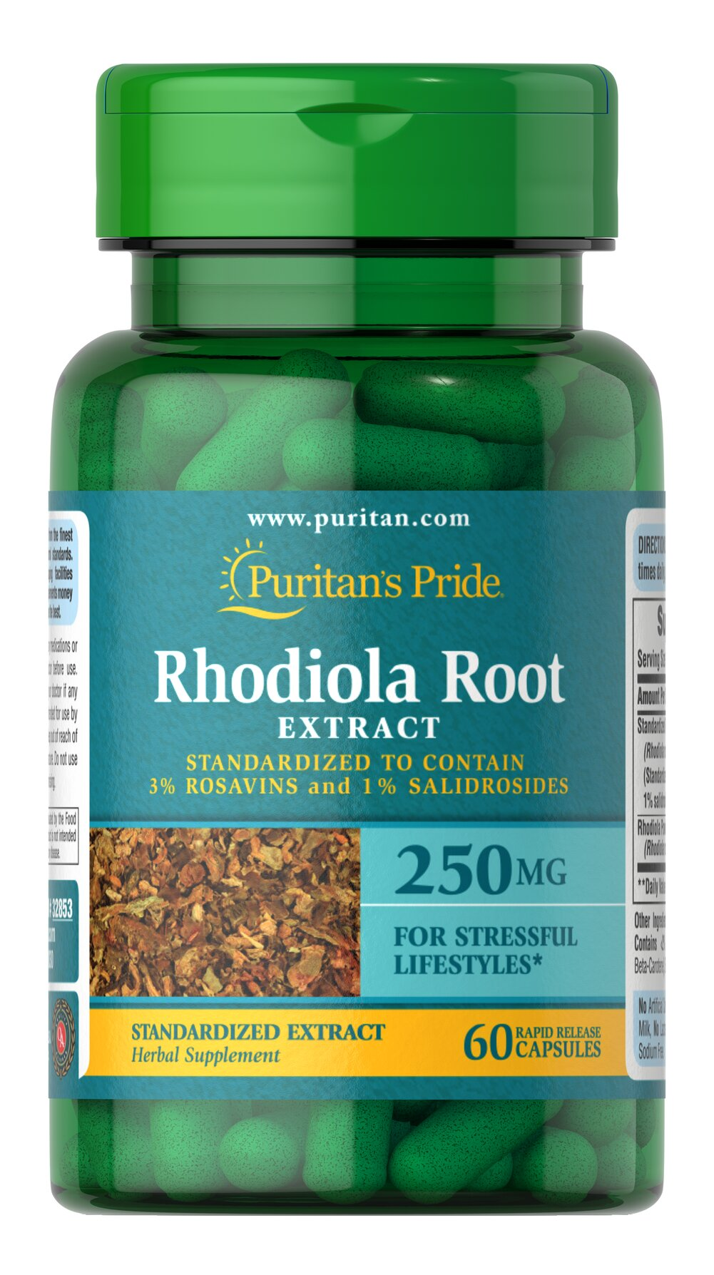 Rhodiola Standardized Extract 250 mg <p><strong>Contains 3% of the active ingredient ROSAVINS</strong></p><p>Rhodiola naturally contains a wide range of antioxidants</p><p>Has a long history of use as an adaptogen</p><p>Our full potency formula is especially good for those with stressful lifestyles**</p><p>Rapid Release capsules disperse quickly into your system</p><p>A perfect choice for vegetarian lifestyles</p&gt