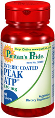 "Enteric Coated PEAK ATP® 150 mg <ul><li><span style=""font-family:'Arial','sans-serif';color:black;"">ATP is present in almost all living cells.</span></li><li><span style=""font-family:'Arial','sans-serif';color:black;"">ATP levels may decline with age.</span></li><li><span style=""font-family:'Arial','sans-serif';color:black;"">Vegetarian-friendly table"