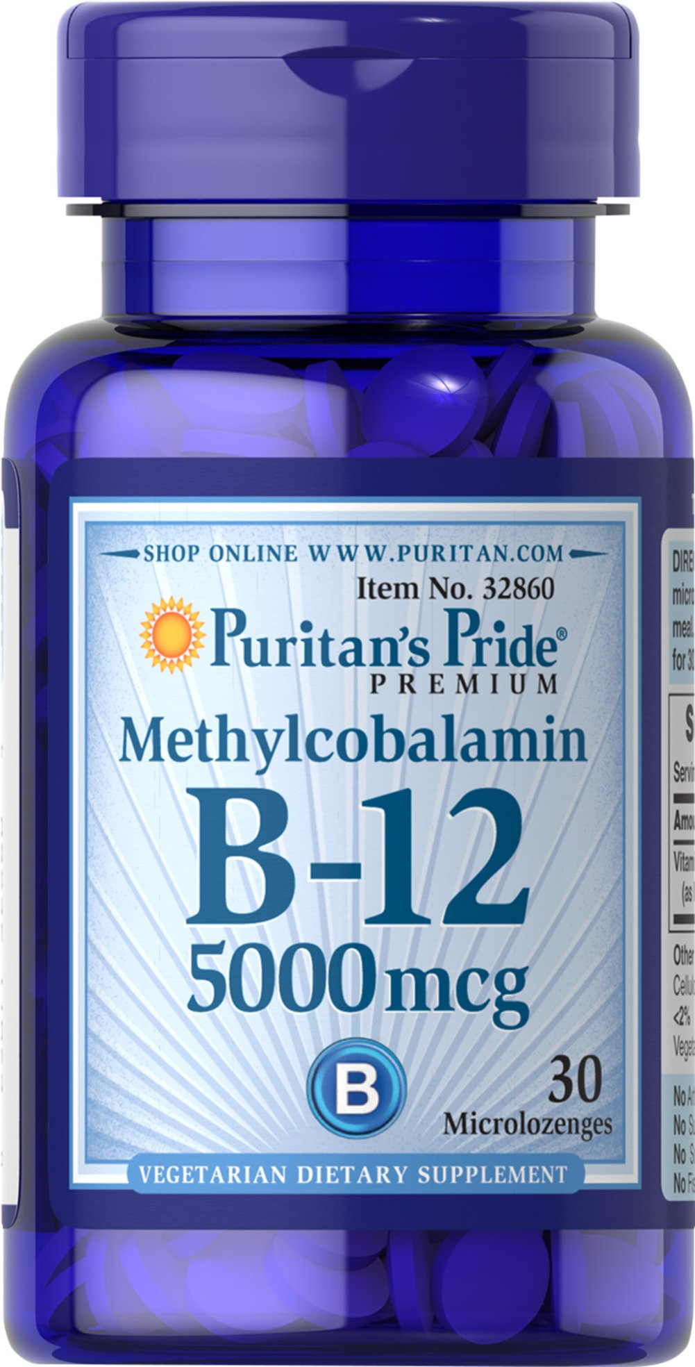 Methylcobalamin Vitamin B-12 5000 mcg <p>Methylcobalamin is a more predominant and active form of Vitamin B-12</p>  <p>Regular Vitamin B-12 supplements must be converted in the body to Methylcobalamin before they can provide any benefits – taking Methylcobalamin allows you to bypass this step for quicker absorption</p>  <p>This biologically active form of B 12 promotes heart health and energy metabolism**</p> 30 Microlozenges 5000 mcg