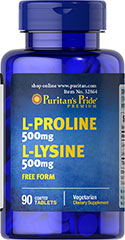 L-Proline/L-Lysine 500 mg / 500 mg (Free Form) <p>Our L-Proline and L-Lysine amino acids are both provided in free form – which means they're not bonded to any other aminos and are already in a pure form</p><p>Contributes to balanced nutrition and health**</p><p>Helps construct and maintain the critical structures in your body**</p><p>Collagen, an important structural component of bones, joints and connective tissue, has high concentrations of Proline&lt