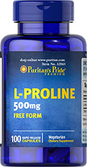 L-Proline 500 mg <p>Our L-Proline is provided in its free form – which means that it's not bonded to any other amino acids and is already in a pure form.</p><p>Collagen, an important structural component of bones, joints and connective tissue, is highly concentrated in Proline.</p><p>An easy dose of just one vegetarian capsule a day on an empty stomach.</p><p>Our Rapid Release capsules disperse quickly into your system.</p> 100 Capsules 500 mg $19.