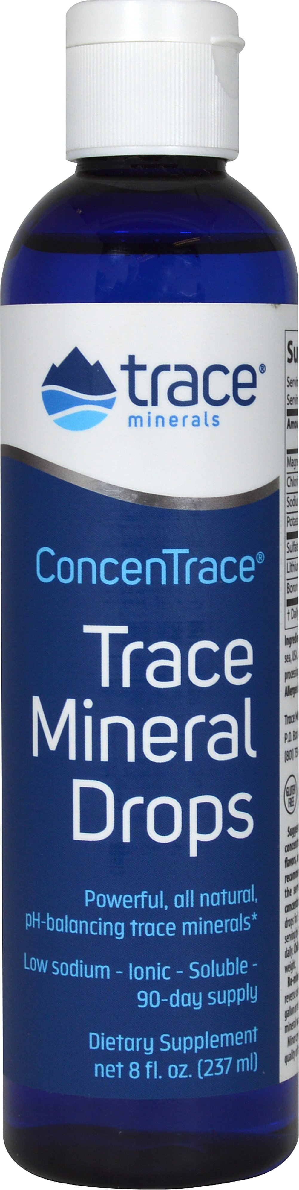Concentrace Trace Minerals <p><b>From the Manufacturer's Label:</b></p>  <p>ConcenTrace® Trace Mineral Drops is a natural mineral concentrate that is so concentrated that 40 drops (½ teaspoon) equals the mineral content of ½ cup sea water with 99% sodium removed.  You may expect a wide spectrum of nutritional benefits. For regular or sodium restricted diets.</p> <p>Manufactured by Trace Minerals.</p> 8 oz Liquid  $16.29